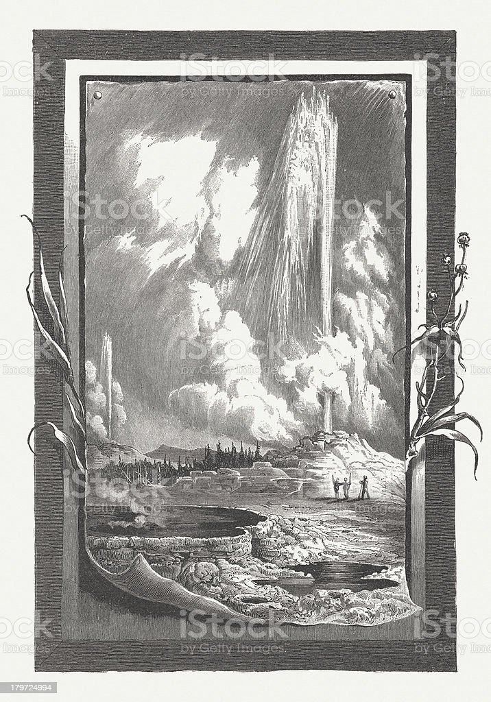 Yellowstone N.P., by Rudolf Cronau, wood engraving, published in 1883 royalty-free stock vector art