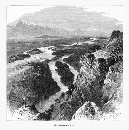 Yellowstone River, Yellowstone National Park, Wyoming, Montana, and Idaho, United States, American Victorian Engraving, 1872