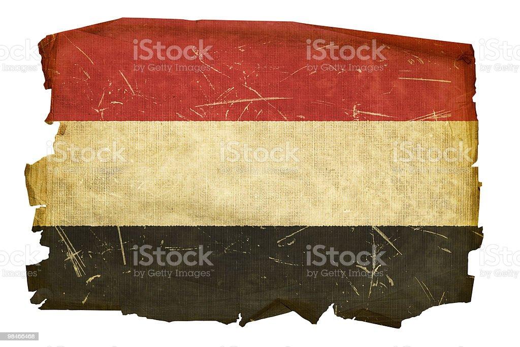 Yemenita bandiera vecchia, isolato su sfondo bianco yemenita bandiera vecchia isolato su sfondo bianco - immagini vettoriali stock e altre immagini di abbigliamento royalty-free