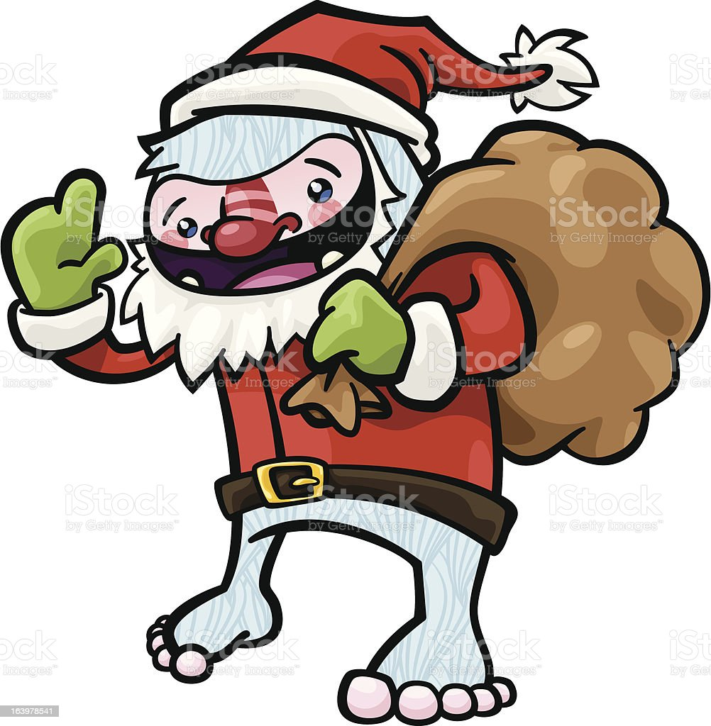 Yeti Santa vector art illustration