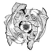 Yin and yang illustration with koi carps and water lily