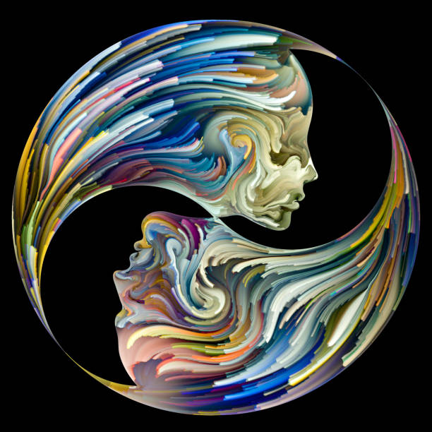 Yin Yang of Us vector art illustration