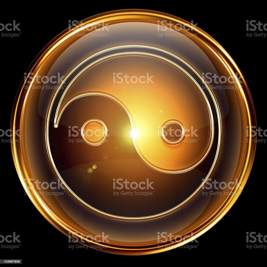 yin und yang-symbol-symbol golden, isoliert auf schwarzem Hintergrund. – Vektorgrafik