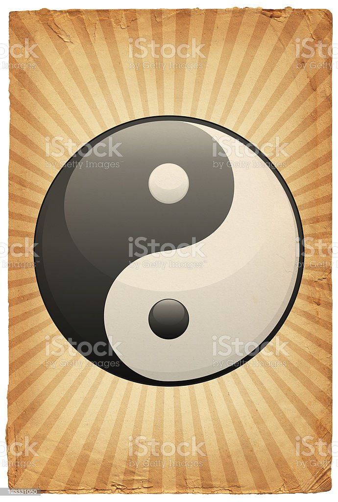 Yin Yang Symbol on old paper Background royalty-free stock vector art