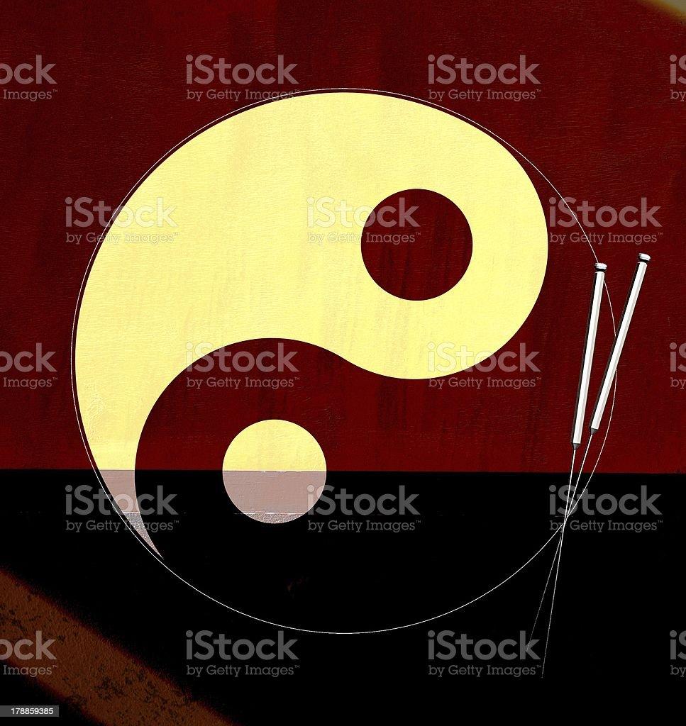 Yin Yang con la acupuntura agujas - ilustración de arte vectorial