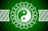 Ying-Yang icon in circle shape and green striped background. Illustration.