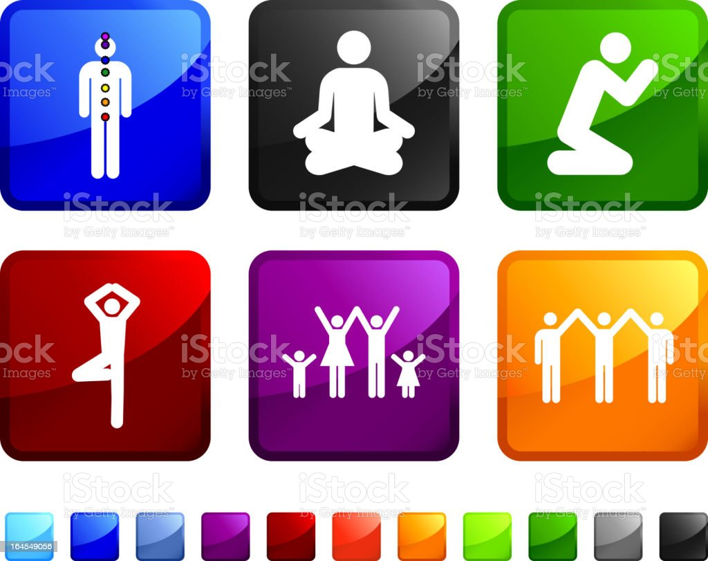 yoga and spirituality royalty free vector icon set stickers vector art illustration