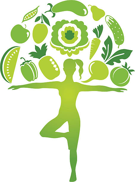 Yoga diet Woman silhouette as a tree trunk with variable fruit and vegetables. avocado silhouettes stock illustrations