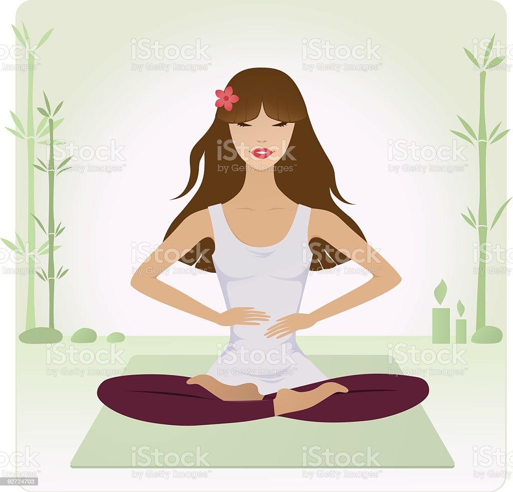 Yoga girl practice Reiki healing royalty-free stock vector art