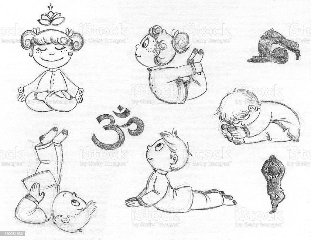 Yoga kids royalty-free stock vector art