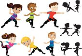 Kids in Various Yoga Poses with Silhouettes