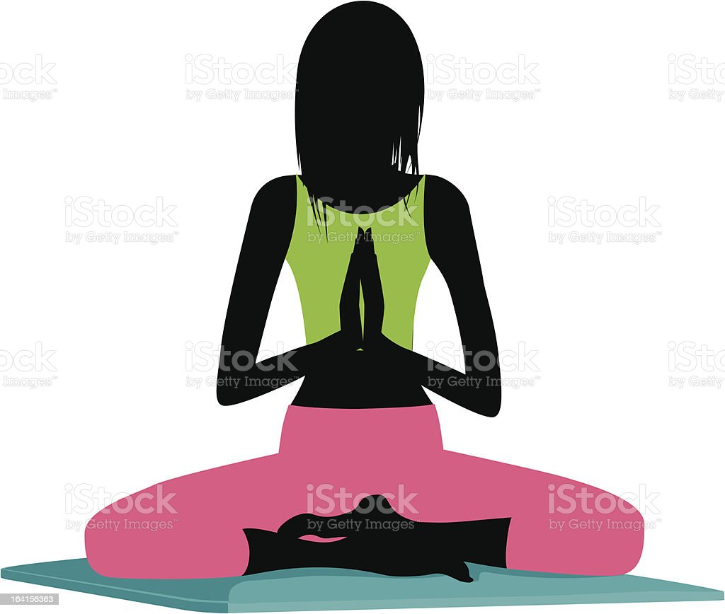 yoga meditating silhouette royalty-free stock vector art