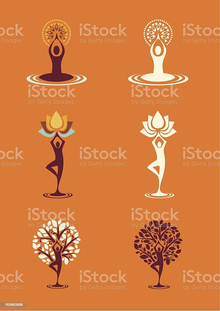 Modelli Yoga natura icone-Set 1 - illustrazione arte vettoriale