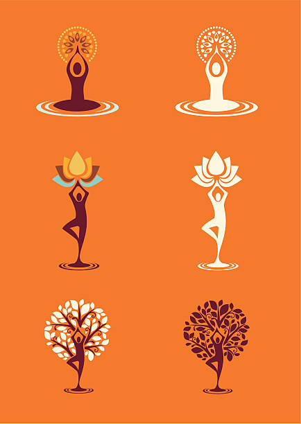Ioga natureza silhuetas de ícones - 1 conjunto - ilustração de arte em vetor