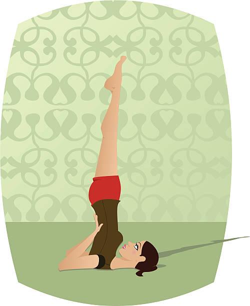 Yoga Sarvangasana girl doing yoga (Sarvangasana or Shoulderstand) shoulder stand stock illustrations