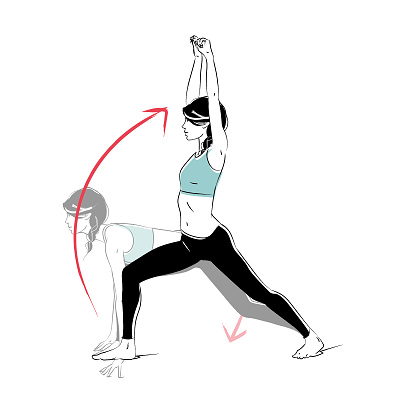 yoga workout runners lunge to warrior one pose yoga flow