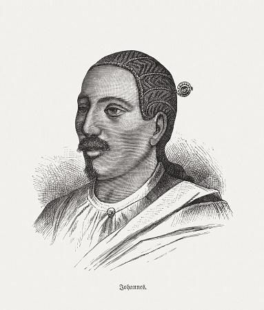 Yohannes IV (1837-1889), Ethiopian ruler, wood engraving, published in 1893