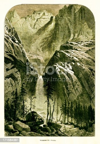 Antique illustration of Yosemite Falls, California. Engraving published in Picturesque America (D. Appleton & Co., New York, 1872).