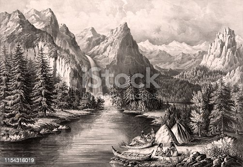 Vintage illustration features Native Americans camping on the banks of a river in Yosemite Valley with Bridal Veil Falls in the background.