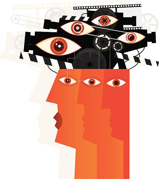 stockillustraties, clipart, cartoons en iconen met you are watched - paranoïde