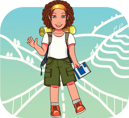 Young backpacker girl at stylized East Asia  background