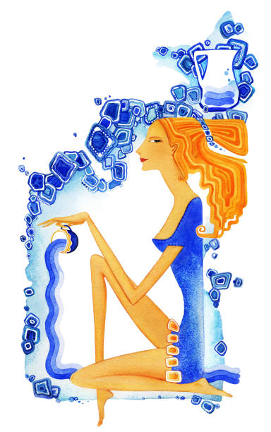 12b22fde2 Young barefoot woman with red hair in a blue dress pours water from a cup as