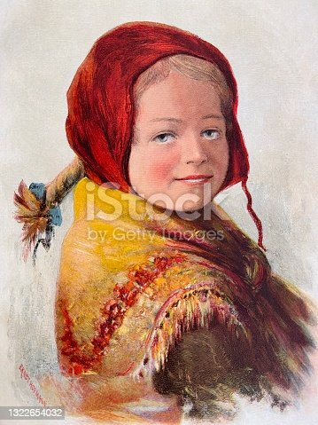 istock Young beautiful blond girl with a red headscarf and ponytail 1322654032