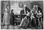 illustration of a Young Beethoven playing before Mozart