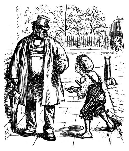 young boy begging for pennies - old man standing drawings stock illustrations, clip art, cartoons, & icons