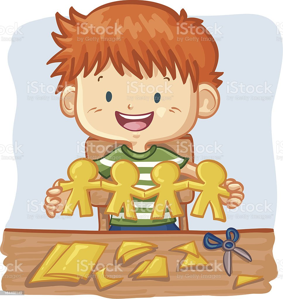 Young Boy Cutting Paper People Chain vector art illustration