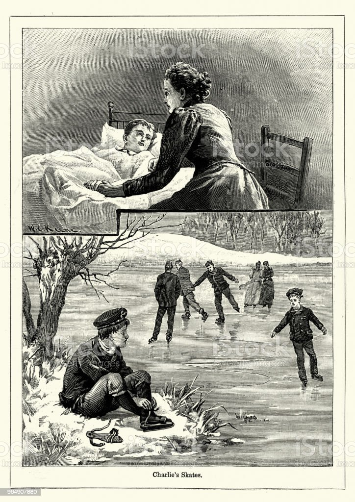 Young boy in bed after being injured ice skating, Victoriian royalty-free young boy in bed after being injured ice skating victoriian stock vector art & more images of 1890-1899