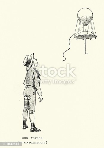 Vintage engraving of Young boy tying his umbrella to a balloon, Victorian, 19th Century. Bon voyage, vilain parapluie (Have a nice trip, ugly umbrella) Les Memoires d'un Parapluie (Memories of an Umbrella).  Henry Gerbault, 1894.