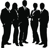 Young business group silhouette