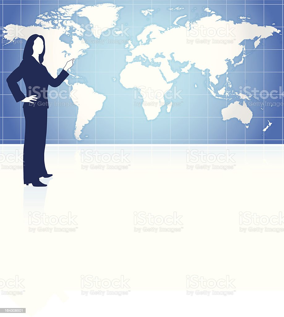 Young business woman with world map background royalty-free stock vector art