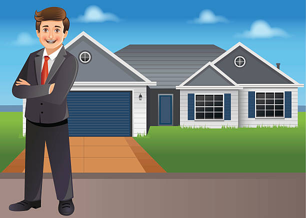 Young businessman/ property dealer standing in front of new house Young businessman standing proudly in front of new house. This can also be a property delear or similar concept. This is an EPS 10 vector with transparencies used at few places. driveway stock illustrations