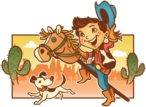 Young Child Playing Pretend Cowboy with His Dog