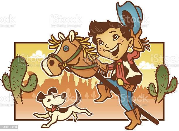 Young Child Playing Pretend Cowboy With His Dog-vektorgrafik och fler bilder på Akvarellmålning