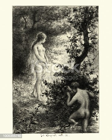 istock Young couple bath in the nude, French, 19th Century 1005355740