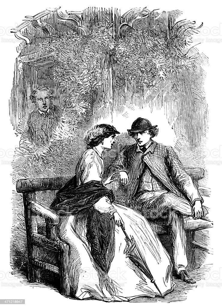 Young couple chatting in a garden - Victorian illustration royalty-free young couple chatting in a garden victorian illustration stock vector art & more images of 1880-1889