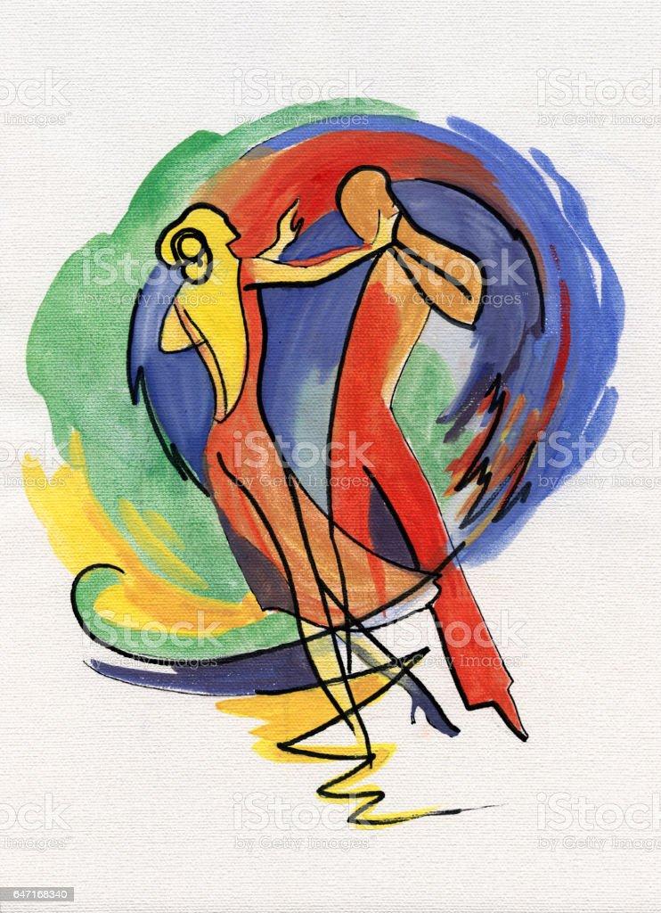 Young couple dancing tango vector art illustration