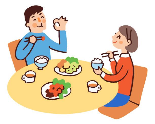 ilustrações de stock, clip art, desenhos animados e ícones de young couple eating japanese food with a smile - woman eating salmon
