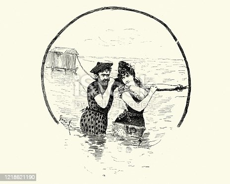 Vintage engraving of a young couple having fun in the sea, 19th Century