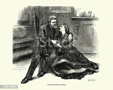 istock Young couple in love, Wife caring for injured husband, Victorian 1266102607