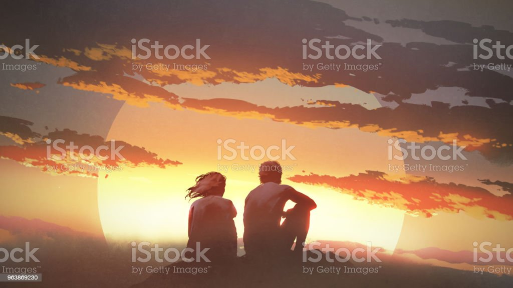young couple looking at the sunset - Royalty-free Adult stock illustration