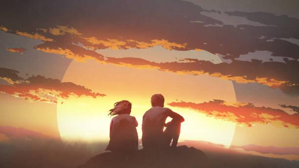 bildbanksillustrationer, clip art samt tecknat material och ikoner med ungt par tittar på solnedgången - young couple