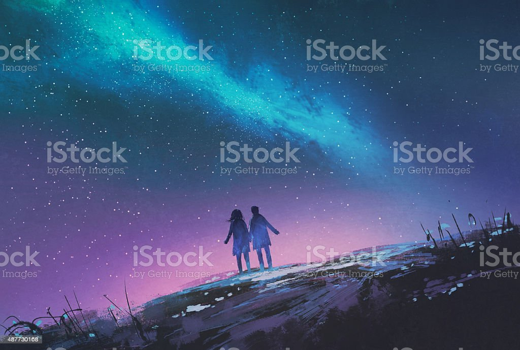 young couple standing holding hands against the Milky Way galaxy vector art illustration