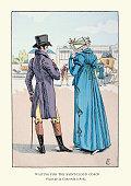 Young couple waiting for coach on Place de la Concorde, 1800s