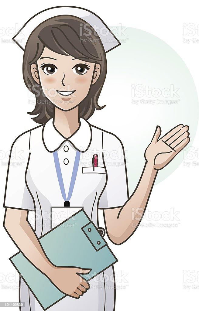 cartoon Junge hübsche Krankenschwester, die Bereitstellung von Informationen – Vektorgrafik