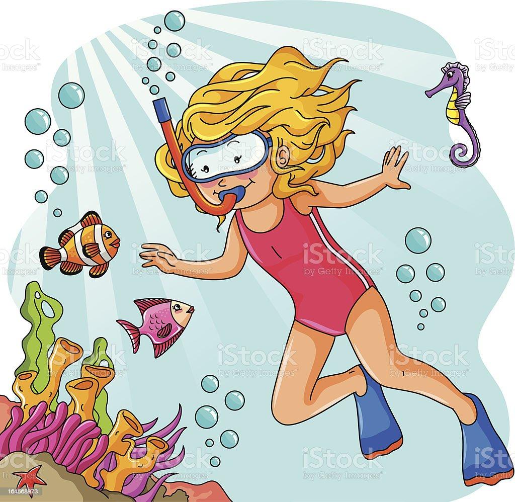 young diver vector art illustration