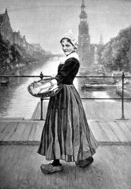 young dutch girl, wearing a traditional dress and a basket in his hands, stands on a bridge in amsterdam - 1896 - dutch traditional clothing stock illustrations, clip art, cartoons, & icons